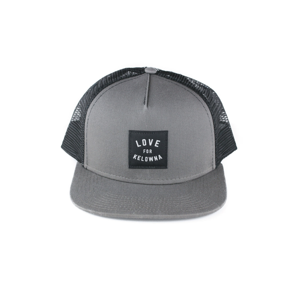 d93c22e500516 Charcoal Black  Love for Kelowna  Trucker Hat – Kelowna Visitor Centre