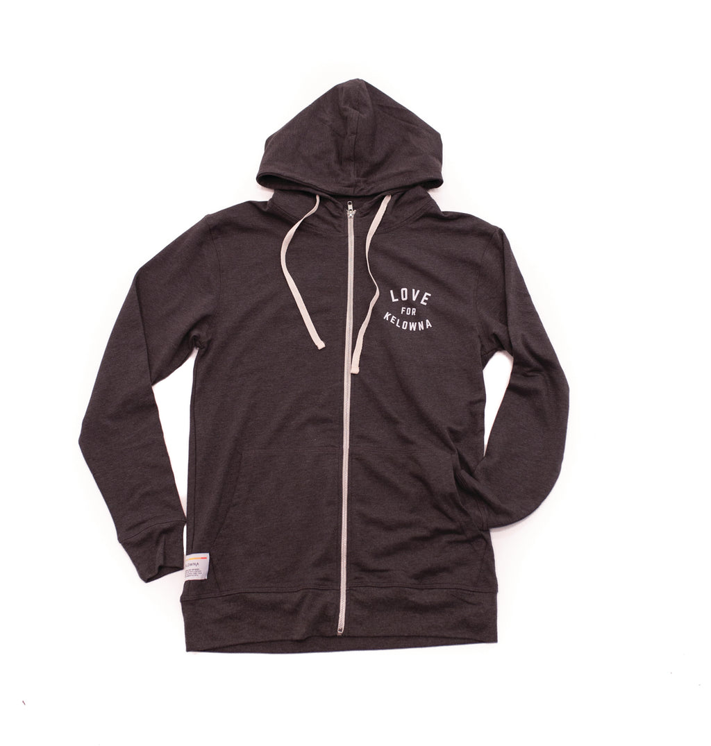 Charcoal 'Love for Kelowna' Zip Hoodie