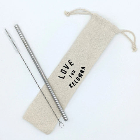 Stainless Steel 'Love for Kelowna' Straw