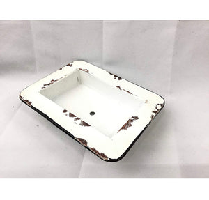 White distressed painted vintage soap dish
