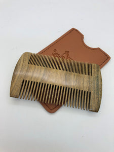 Beard Comb w/ leather case - pocket