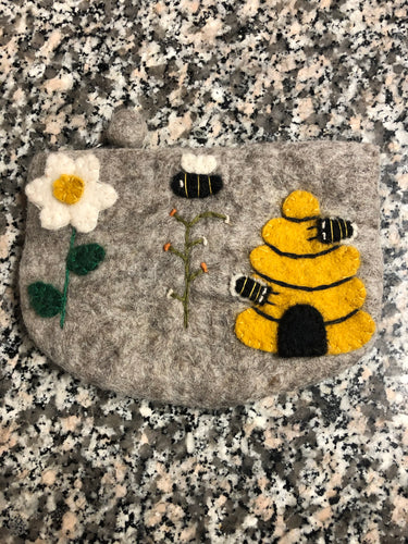 Bee zipper wool felted purse