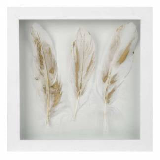 White 3 feather wall frame I7538 -  -Lemongrass Boutique