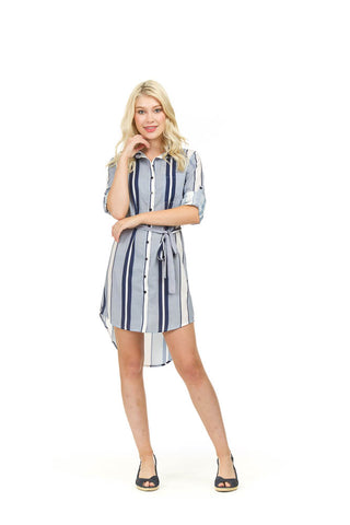 Papillon Striped Dress with Tie PD03536