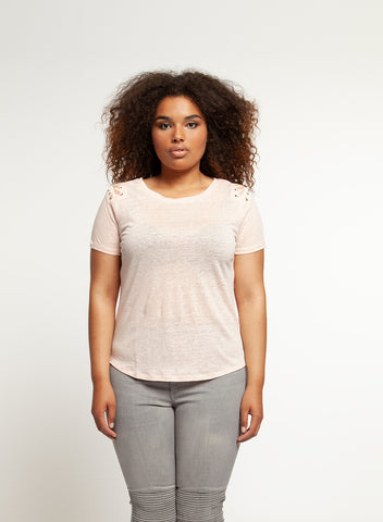 Dex Plus Top with Lace Up Detail 1374006 -  -Dex Plus