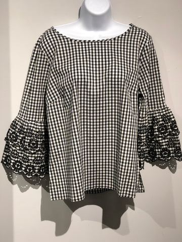 Tribal Gingham Blouse with Lace Sleeve 3416026630002 -  -Tribal