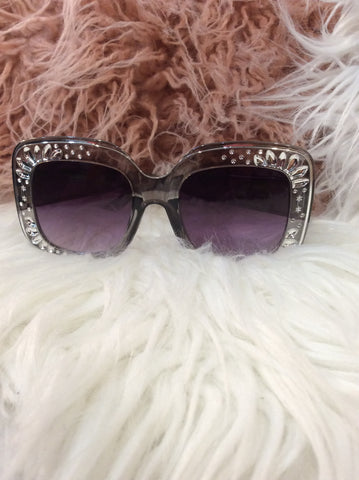 Sunglasses Smoke Grey with bling SUN22 -  -Lemongrass Boutique