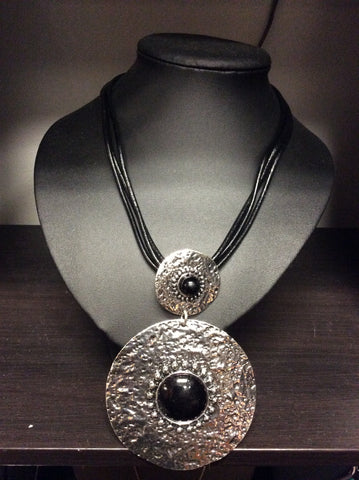 Large Silver Medallion Necklace -  -Lemongrass Boutique