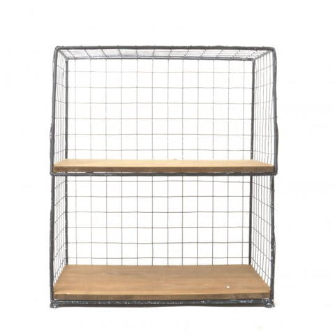 Metal and Wood Two Shelf Organizer -  -Lemongrass Boutique