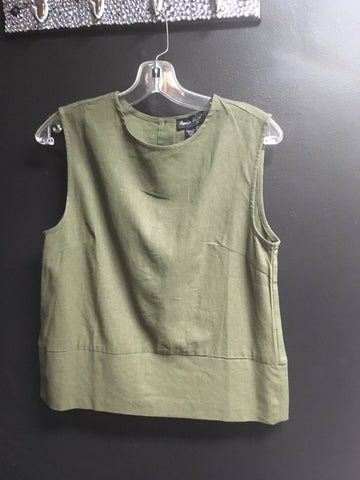 Linen Blend Crop Top with Buttons in Back - Olive -  -Charlie Page