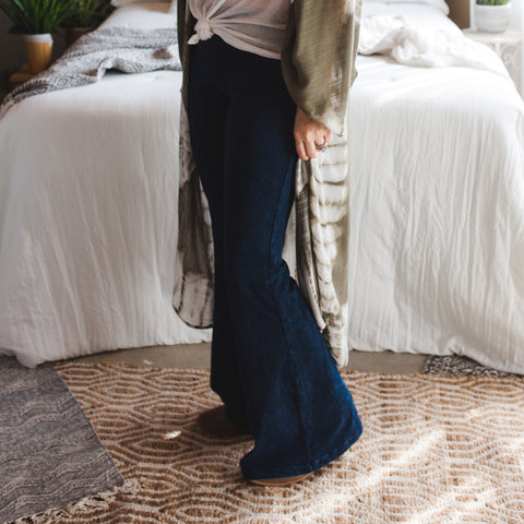 Jewel Mineral Wash Bell Bottom Pants