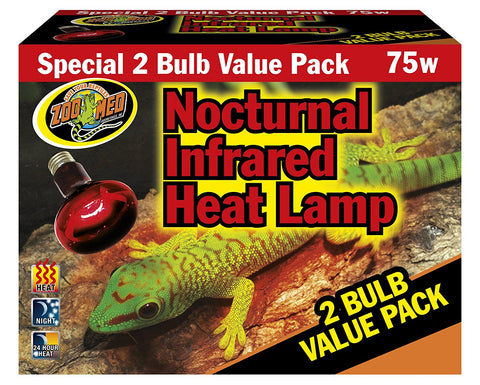 Zoo Med Nocturnal Infrared Heat Lamp 75 Watts (2-Pack)