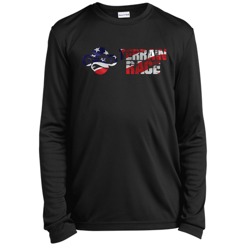 Terrain Race USA Flag Youth LS Moisture-Wicking T-Shirt
