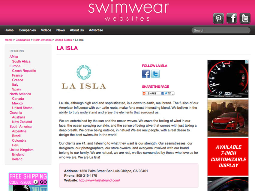 La Isla Now Listed on Swimwearwebsites.com