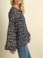 Navy Floral Print Blouse