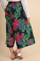 Navy Tropical Print Gaucho Pant