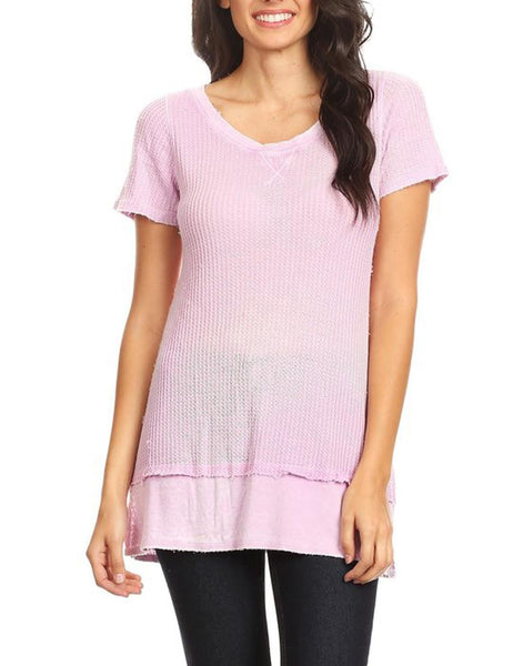 Pastel Lavender Thermal-Knit Tee