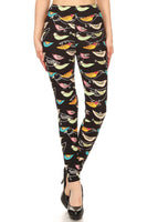 Graphic Bird Print Yoga Leggings
