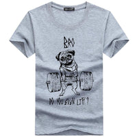Men's T-shirt 2018 Summer Fashion Pug Cat Life Print T Shirt Men Tops O-Neck Trendy Casual Cotton tshirt Homme Plus Size 5XL