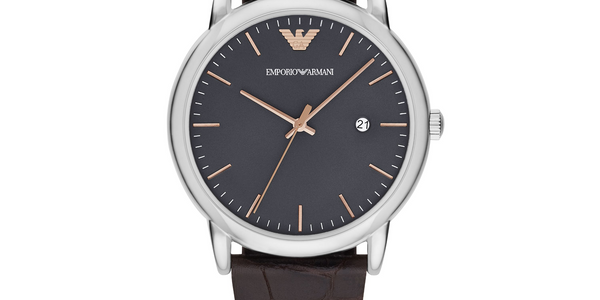 Emporio Armani Men's Leather Quartz Watch.