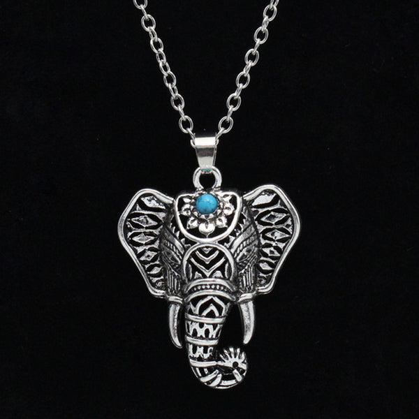 Bohemian Ethnic blue stone Elephant Pendant Necklace Vintage women statement jewelry Necklace for Women  Free shipping