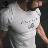 HZIJUE 2017 New Brand clothing Gyms Tight t-shirt mens fitness t-shirt homme Gyms t shirt men fitness crossfit Summer top