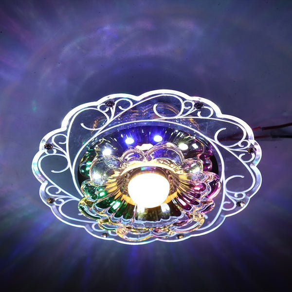 Practical-3W LED Crystal Lotus Ceiling Light  Flush Lamp Main Warm Light Auxiliary Colorful Light Indoor Lighting Perfe