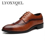 Fashion PU Leather Men Shoes Pointed Toe Bullock Oxfords