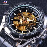 Forsining Golden Skeleton Wristwatch Steampunk Design Men's Automatic Watch PU Leather Male Clock with Luminous Hands Display