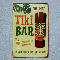 Tiki Bar Tin Signs Kitchen Rules Metal Plate Garage Wall Pub Restaurant