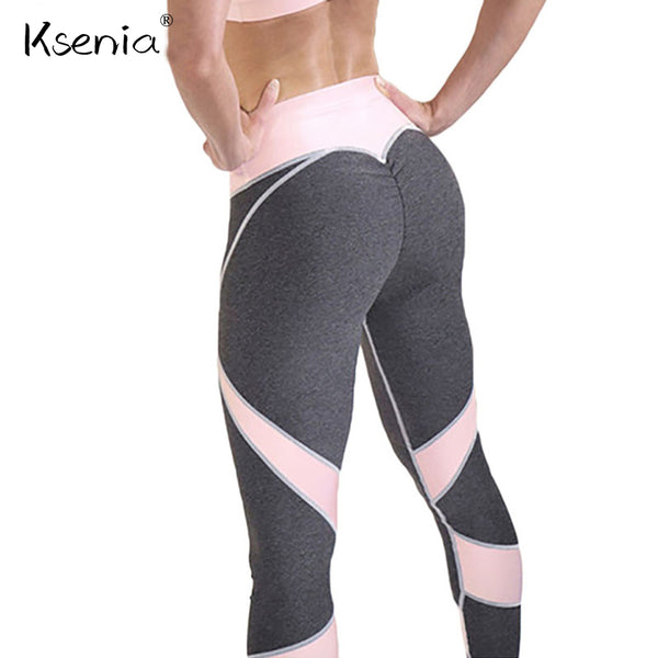 Ksenia Ladies Heart Push Up Patchwork Leggings Women Casual High Waist fitness legging 2018 Spring Autumn Workout Sexy Legins