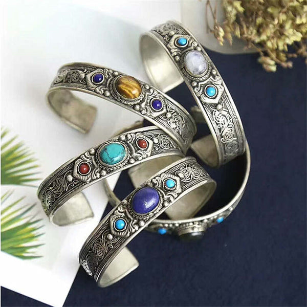 BB-486 Tibetan Silver Inlaid Natural Stone Open Cuff Bangle Nepal Vintage Jewelry