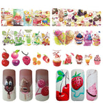 15PCS Summer Fruit Strawberry Cherry Cake Ice Cream Nail Art Water Transfer Sticker Decor Slider Decal Manicure JISTZ474-488