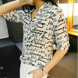 FAST SHIPPING!!! Women New Letter Zebra Print Blouse Chiffon Shirt Girl Short Sleeve Button Down Tops