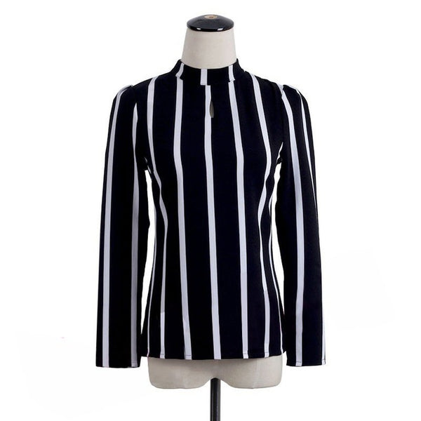 FAST SHIPPING  Korean Style Women Hollow Out Long Sleeve Striped Chiffon Blouse Women