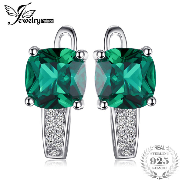 Green Emerald Clip On Earrings 925 Sterling