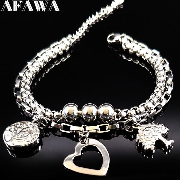 2018 Double Love Silver Color  STAINLESS STEEL BRACELET for Women