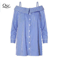 Women Summer Dress Shoulder 2018 Spring Casual Blue Spaghetti Striped T Shirt Sexy Beach Short Mini Party Dresses