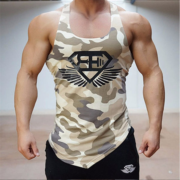 TUNSECHY 2017 new summer camouflage gyms tank top men bodybuilding good quality EU size Mens Singlet Sleeveless shirt