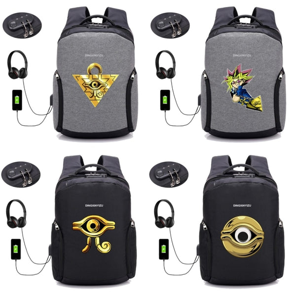 Anime Yu Gi Oh backpack multifunction USB charging