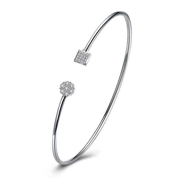 Swarovski Crystal Geo Adjustable Bangle in 18K White Gold Plated