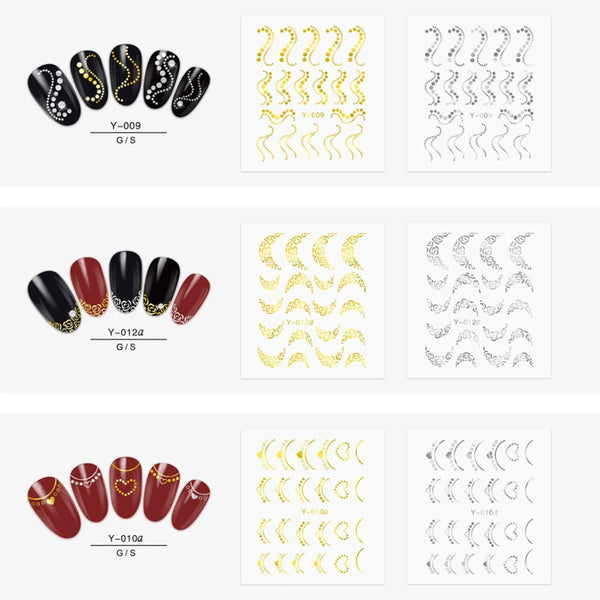 Full Beauty 30pcs Gold Silver Nail Water Sticker Feather Flower Spider Design Decal For Nails Decoration Nail Art Manicure