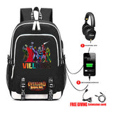 ANIME Overlord Canvas Backpack USB Charging Headphone jack Student School Backpack Teenagers men travel laptop bag 16 style