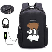 Anime Bears backpack Anti Theft Usb Charging