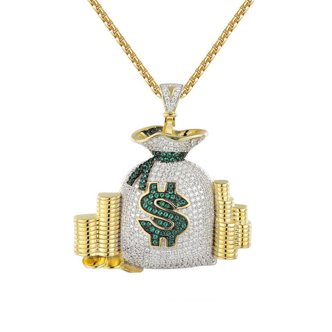 18K Gold Money Bag Pendant