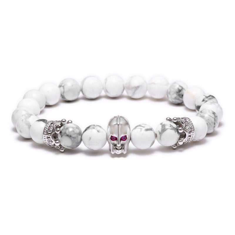 18K White Gold Warrior Beaded Bracelet