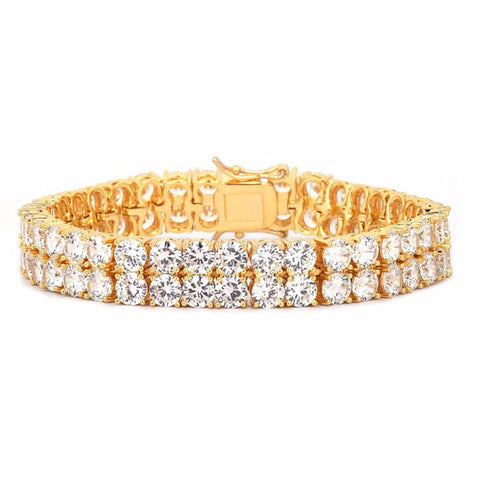24K Gold 10mm Double Row Tennis Bracelet
