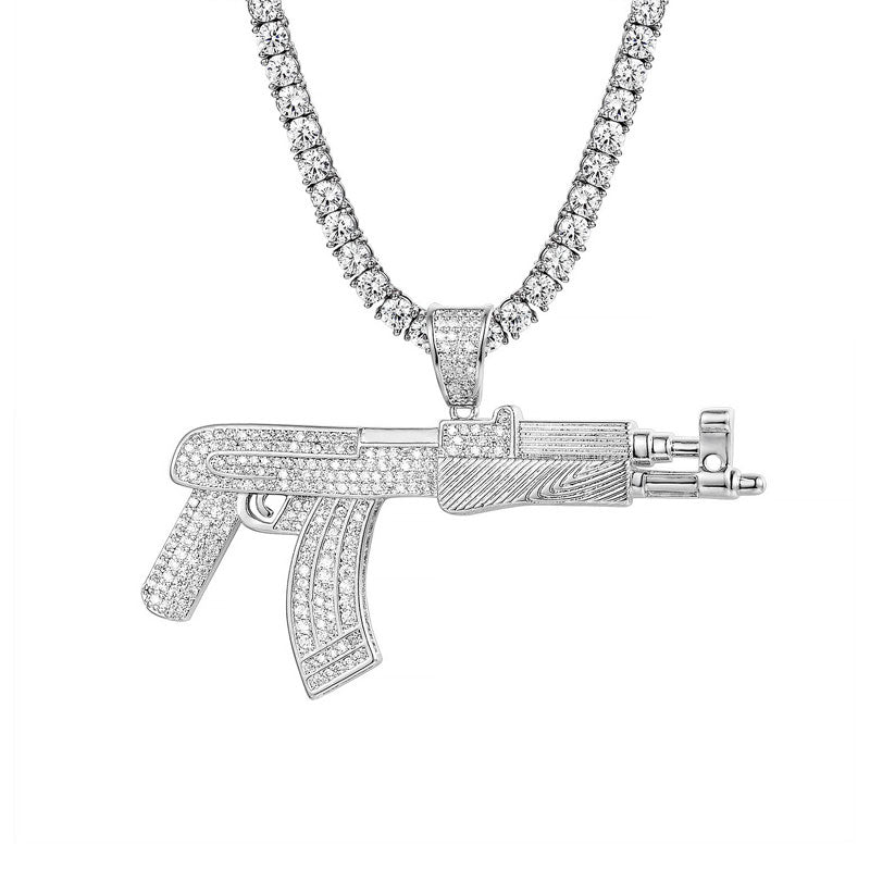 14K White Gold AK47 Pendant + 4mm Round Cut Tennis Necklace Set