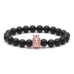 18K Rose Gold Lion Beaded Bracelet