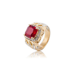 18K Gold Red Gem Stone Lussona Ring